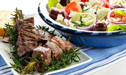 Greek Feast with Meat Platter and Wine for Two ($49) or Four People ($98) at Georgia's Koutouki (Up to $217 Value)