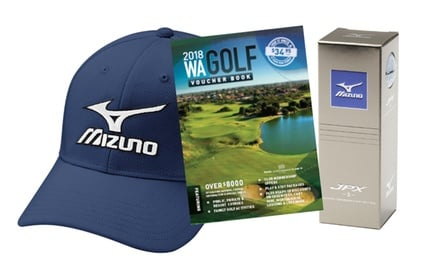 $49 for WA Golf Voucher Booklet, Mizuno Hat and Set of Three Balls from Perth Golf Network (Up to $85 Value)