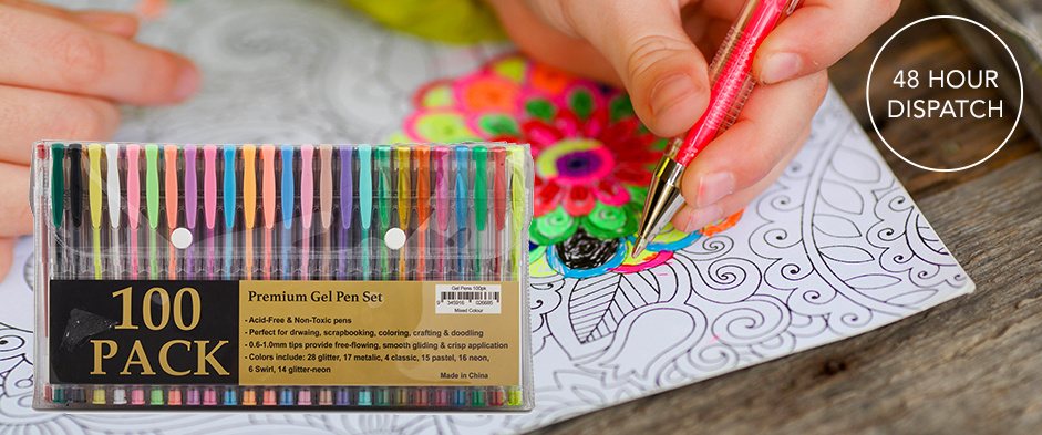 Bring Out Your Artistic Side with This Fabulous Premium Gel Pen Set with An Amazing Array of 100 Different Coloured Gel Pens! Only $19