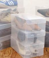 Clear Plastic Foldable Shoe Boxes: One ($19) or Two Sets ($34)