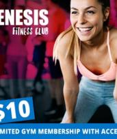 1-Month Gym Membership + Classes (From $10) + Unlimited Group PT Sessions ($39) at Genesis Fitness (Up to $439 Value)