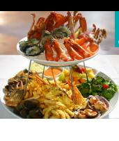 Save $96 on an Award-Winning Hot and Cold Fresh Seafood Platter with a Bottle of Wine for Two