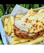 Chicken Parmigiana with Chips and a Drink in Mount Waverley