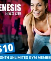 One-Month Unlimited Gym Membership ($10) with Group PT Sessions ($39) at Genesis Fitness - Belmont (Up to $298 Value)