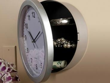 $19 Mountable Round Wall Clock with Hidden Safe