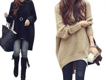 Women's Oversized Hooded Knit Top - One ($26) or Two Tops ($43)