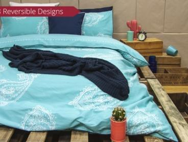 Ardor Reversible Cotton Printed Quilt Cover Set - Single ($39), Queen ($49) or King Size ($55) (Don't Pay Up to $129.95)