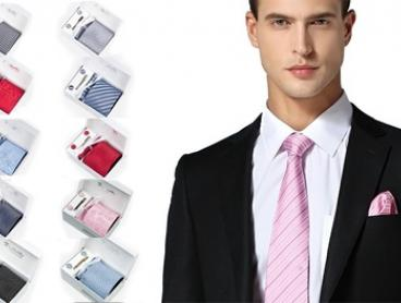 $19 Men's Tie Gift Set with Necktie, Cufflinks, Pocket Square and Tie Clip