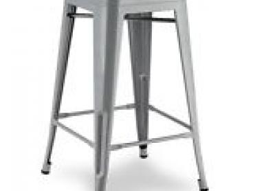 4 x Replica Tolix Bar Stool Chair Silver 66cm Metal Steel Kitchen Dining Cafe
