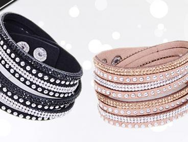 Experience Elegance and Style with a Swarovski Elements Vegan Leather Bracelet. This Must-Have Design Features Four Interconnecting Rows with Hundreds of Swarovski Elements. The Perfect Gift Idea for Only $15 for One or $25 for Two