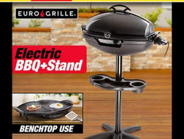 EURO-GRILLE Electric BBQ Outdoor Indoor - Portable Grill Stand Camping