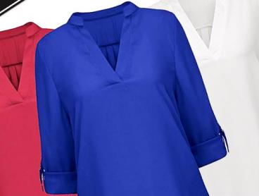 Get the Perfect Day to Day Top with This V-Neck Blouse! This Blouse Comes in a Variety of Beautiful Colours and Features a Trendy Long Hemline at the Back. Only $19 with Delivery Included