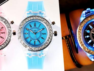 Stay On Time and in Style with The Glow in the Dark Light Silicone Watch. Unisex Design with a Ring of Faux Diamonds to Make Your Wrist Sparkle. Only $19 with Delivery Included
