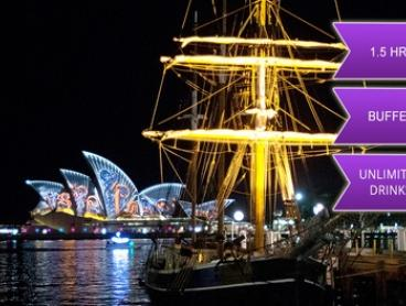 $59 for a Vivid Sydney Harbour Cruise with Drinks and Buffet Package with Sydney Harbour Tall Ships (Up to $79 Value)