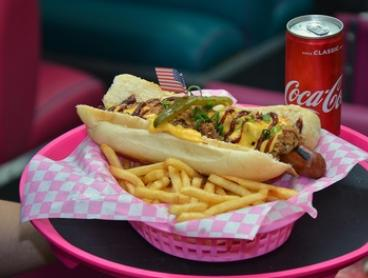 American Hot Dog, Chips and Can of Coke for One ($15) or Two People ($29) at Misty's Diner, Prahran (Up to $61.60 Value)