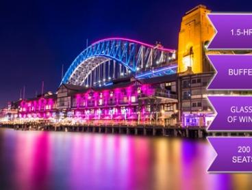 From $39 for 1-Hour-and-45-Minute Vivid Cruise with Standing Buffet and Wine on the Sydney Glass Island (From $85 Value)
