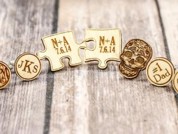 Personalised Wooden Cuff Links - Prices start from $8 for One Pair (Valued Up To $107.36)