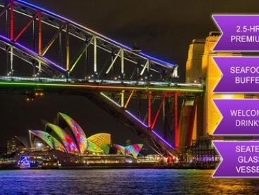 $99 for a 2.5hr Premium Glass Vessel Vivid Festival Cruise + Seafood Buffet and Drink with iToursntix (Up to $195 Value)