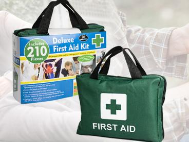 Always Be Prepared in Case of an Emergency with a 210 Piece First Aid Kit! Only $19 for One Comprehensive Kit or $35 for Two. Includes Adhesive Plaster Strips, Antiseptic Wipes, CPR Mask, Instant Cold Pack, Emergency Blanket and More. Ideal for your Home, Car, Office, Boat or Campervan