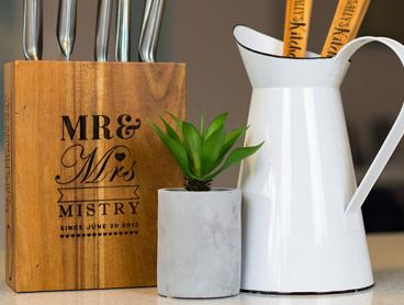 Only $19 For A Personalised Knife Block Made From Sustainable and Beautiful Acacia Wood (Value $99.95)