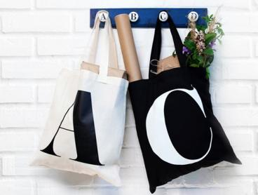 Personalised Initial Tote Bag, Just $9 for One or $16 for Two! Available in Your Choice of Black or Cream (Valued Up To $46)