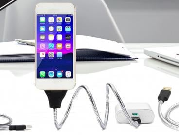 Desk Space Doesn't Need to Be An Issue Anymore with This Flexi Charging Cable for Android or iPhone Models! This Handy Cable Can Be Bent in Any Direction. From Only $14