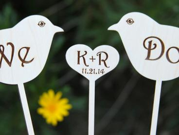 Personalised Wood Engraved Cake Toppers - Get One for $10, or Two for $19 (Valued Up To $53.68)