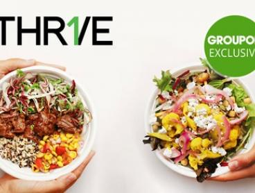 THR1VE signature lunch or breakfast bowl plus bottle of water for $9 - 10 restaurant locations (up to $18.50 value)