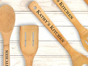 Just $18 for a Set of Six Personalised Kitchen Utensils Made from Stylish and Durable Bamboo (Value $42.94)