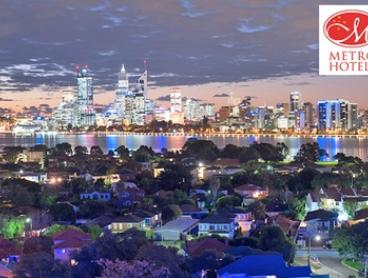 Perth, CBD: 1 or 2 Nights for Two People with Breakfast, Late Check-Out and Option for Wine at Metro Hotel Perth