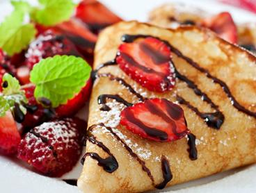 Your Choice of All-Day Breakfast or Sweet Crepes for Two People with a Hot Drink Each for $19 (Valued Up To $37.40)