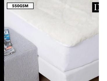 Jason Reversible 550GSM Australian Wool Fitted Double Bed Underlay - White