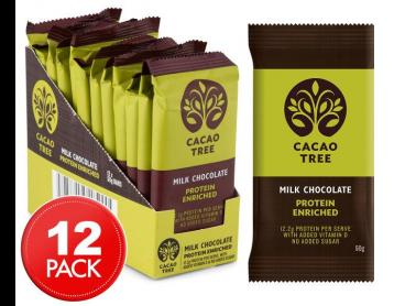 12 x Cacao Tree Protein Enriched Milk Chocolate Bars 50g