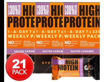 3 x Systemax High Protein Bars Salted Caramel 7pk