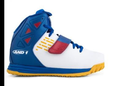 AND1 Kids' Tempest Basketball Shoe - White/Royal/Golden Rod/F1 Red