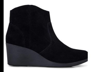 Crocs Women's Leigh Suede Wedge Leather Bootie - Black