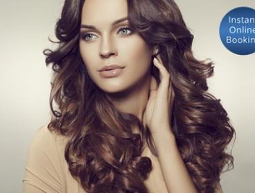 Hair Pamper Package + Wine & Choice of Style Cut ($49) or Foils, Toner & Trim ($79) at HairFanatic (Up to $310 Value)