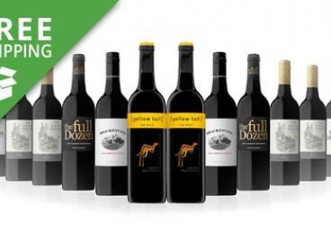 Free Shipping: $69 for Christmas Pack of 12 Mixed Bottles of Red Wine Featuring Yellow Tail Shiraz (Don't Pay $189)