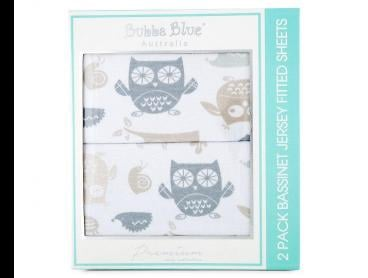 Bubba Blue Mod The Owl Bassinet Jersey Fitted Sheets 2-Pack
