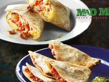 Breakfast Burrito or Quesadilla + Barista Style Coffee for 1 ($7), 2 ($14) or 4 People ($28) at Mad Mex (Up to $47.60)
