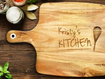 Personalised Acacia Wooden Chopping Board: Small ($25), Medium ($35) or Large ($45) (Don't Pay up to $189.95)