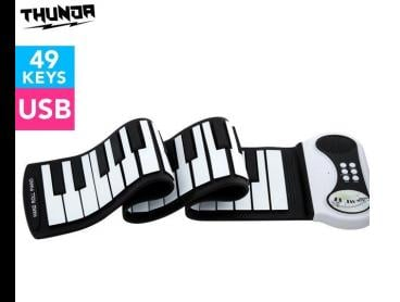 Thunda 49-Key Roll Up Piano - Black/White