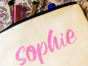 Personalised Canvas Make-Up Bag - $12 for One Bag or $22 for Two Bags. Available in Your Choice of Black or Cream (Valued Up To $69.16)