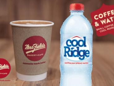 $2.99 for Coffee + 600ml Bottle of Cool Ridge Water at Mrs Fields