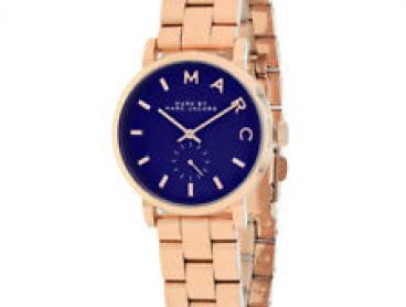 Marc by Marc Jacobs Baker Navy Dial Rose Gold-plated Ladies 28mm Watch