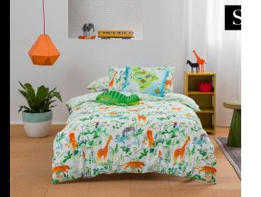 Kas Kids Jungle Story Single Bed Quilt Cover Set - Multi