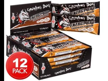 12 x Musashi Growling Dog Energy Bars Chocolate 65g