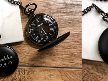 Custom Engraved Personalised Pocket Watch & Chain - Just $14 for One or $24 for Two (Valued Up To $103.76)