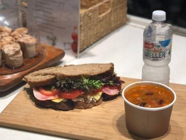 $6.50 for Takeaway Lunch: Gourmet Sandwich or Soup + Water at Croutons Soup Bar, Two Locations (Up to $12.90 Value)