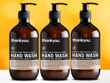 Stock Your Bathroom with Three Bottles of 500ml Thankyou. Hand Wash Orange & Almond! Only $16 (Value $30)